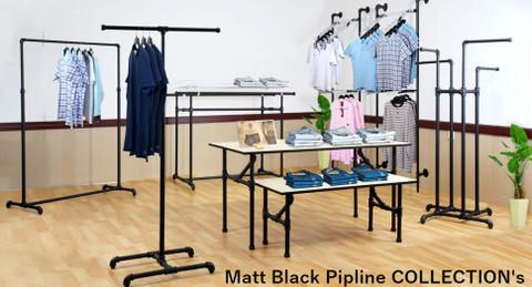 Pipe Single Rail Ballet Clothing Display Rack | MATTE BLACK