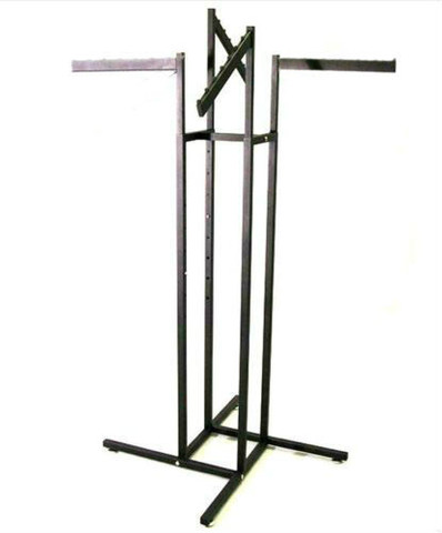 "Texture  Black 4 Way Rack With tow 16"" Long Straight and Two 18"" Long Slanted Display Arms"