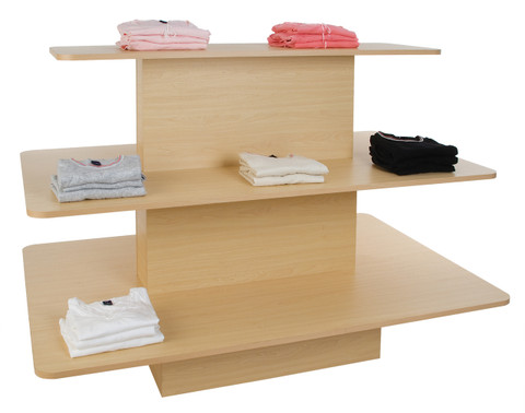 Three Tier Rectangular Wood Retail Display Table   Maple