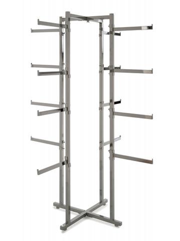 "4 Way Folding Lingerie Rack With 16 rectangular 12"" L Arms | Chrome"