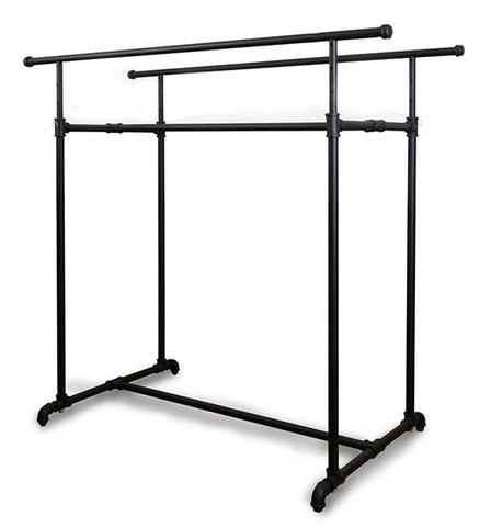 Double Bar Retail Clothing Display Pipe Rack  MATT BLACK