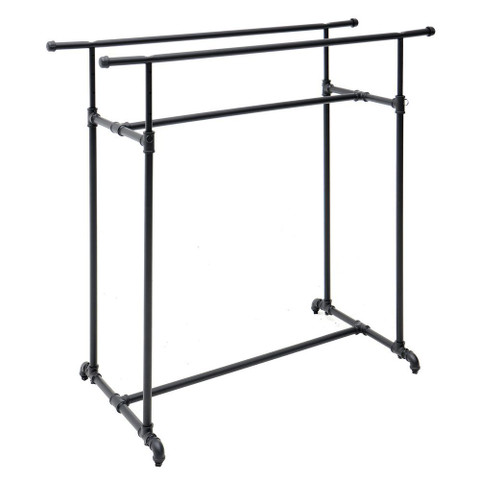 Double Bar Retail Clothing Display Pipe Rack | MATTE BLACK