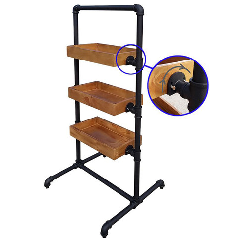 Pipeline Rack with Three Display Trays  Matte Black