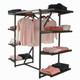 Double Bar & Eight Shelves Combination Clothing Rack | Black Shelves