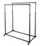 Double Rail Adjustable Height Pipe Clothing Rack | MATTE BLACK