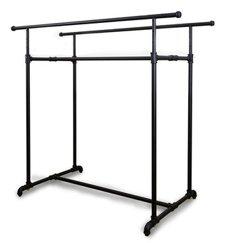Black Double Rail Pipe Clothing Rack Product Display
