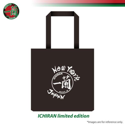 Black ICHIRAN tote bag with exclusive ICHIRAN x New York design featuring NYC subway