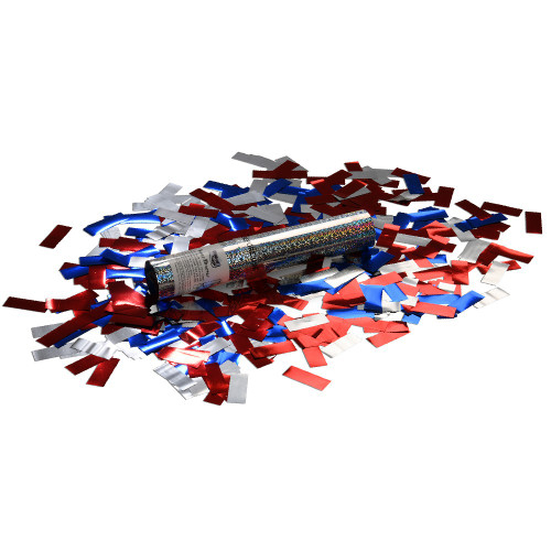 Small Confetti Cannon - Red, Silver and Blue Glitter