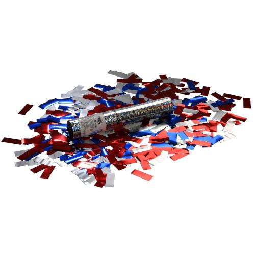 Small Confetti Cannon - Red, Silver and Blue Glitter