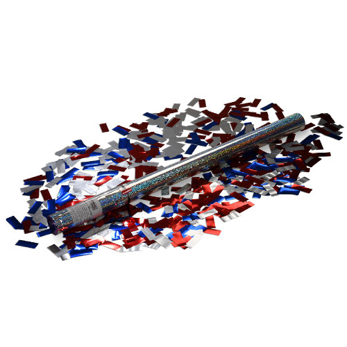 Large Confetti Cannon -Red, Silver and Blue Glitter