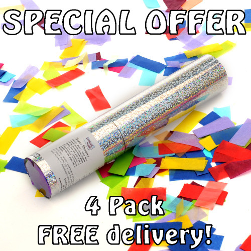 Party Pack - 4 Multicolour Confetti Cannons