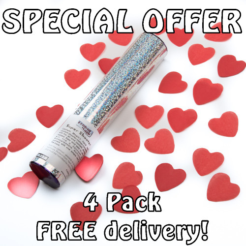 Valentines Pack - 4 Heart Confetti Cannons