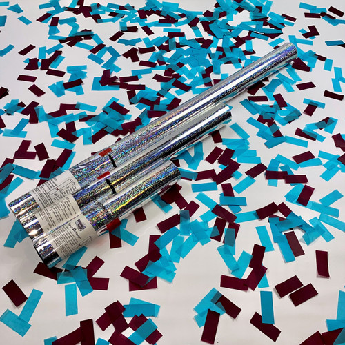 Show your support and celebrate a win with claret and light blue confetti cannons