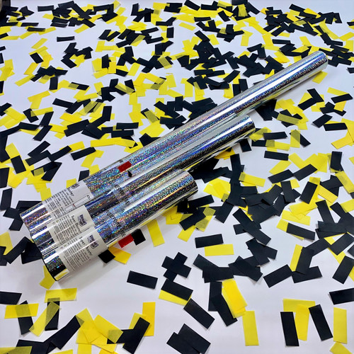 Show your support and celebrate a win with yellow and black confetti cannons