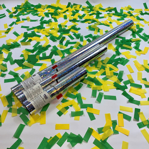 Show your support and celebrate a win with yellow and green confetti cannons