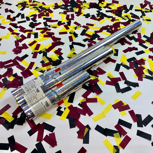 Show your support and celebrate a win with yellow, black & claret confetti cannons