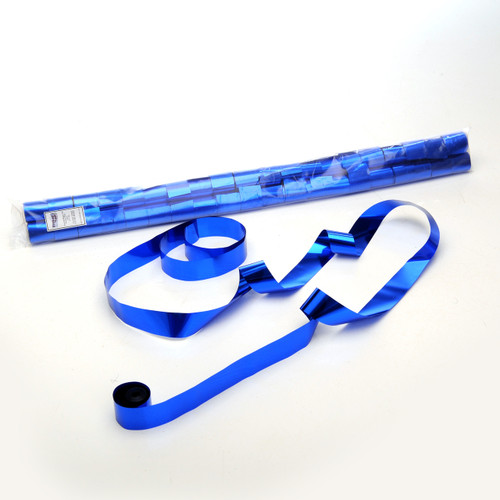 Blue Metallic Streamers - 25mm x 7m - sleeve of 40