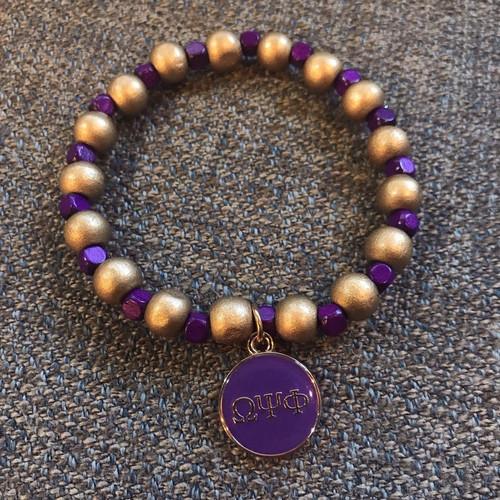 "Omega Psi Phi ""Squared"" Bracelet with charm"