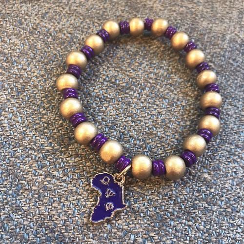"Omega Psi Phi ""Tubed"" Bracelet with charm"