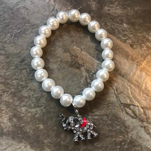 Pearl Bracelet with Elephant charm