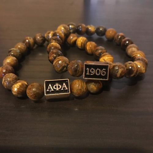 Alpha Phi Alpha Faceted Tiger Eye Bracelet