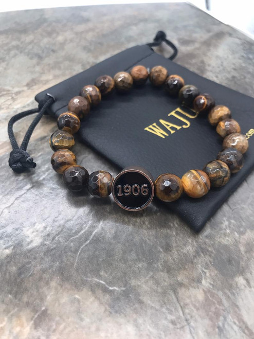 Alpha Phi Alpha Circle Faceted Tiger Eye Bracelet