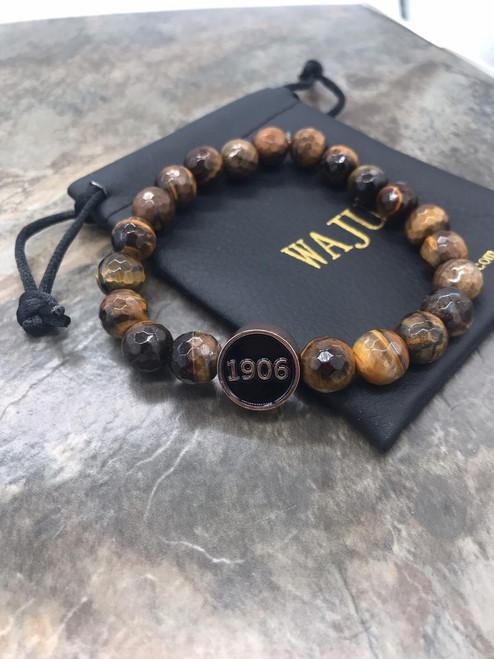 Alpha Phi Alpha Circle Faceted Tiger Eye Bracelet