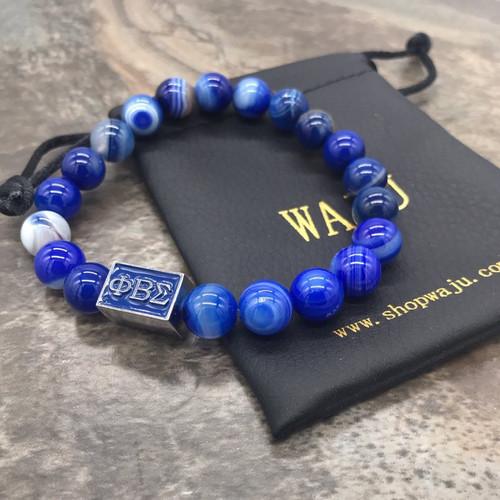 Phi Beta Sigma Striped Agate Bracelet