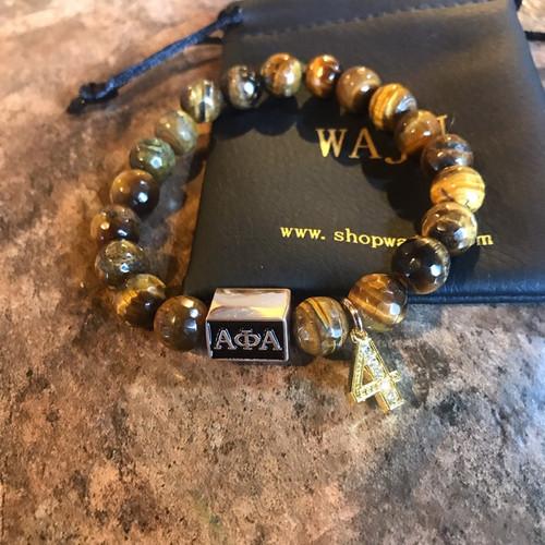 Alpha Phi Alpha Faceted Tiger Eye Bracelet with Line Number