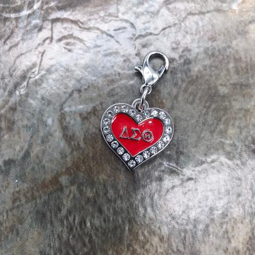 Delta Sigma Theta enamel heart charm