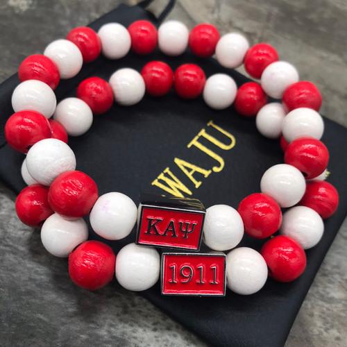 Kappa Alpha Psi 1911 Red & White Maple Wood Bracelet
