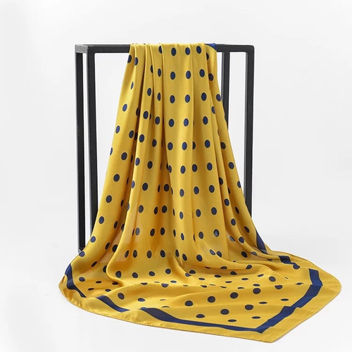 Blue and Golden Yellow Silk Polka Dot Scarf