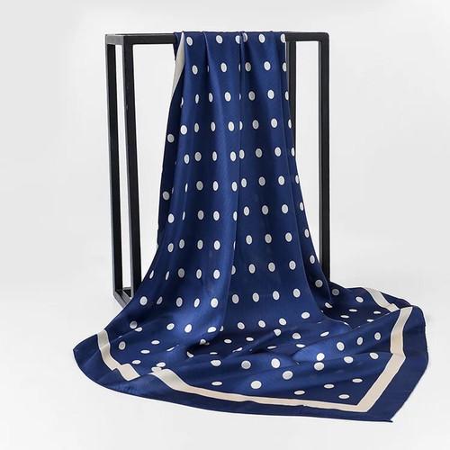 Blue and White Silk Polka Dot Scarf
