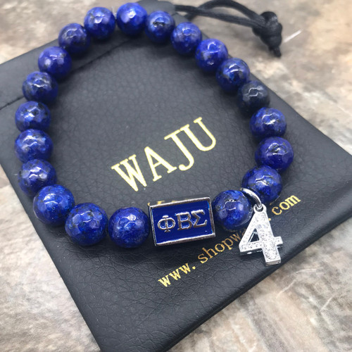 Phi Beta Sigma Lapis Bracelet with charm