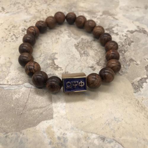 Omega Psi Phi Wood Focal Bracelet