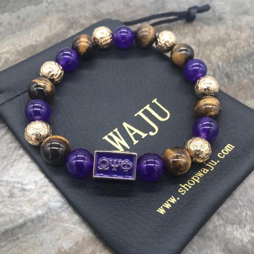 Omega Psi Phi Goulders Bracelet, Rectangle Focal Bead
