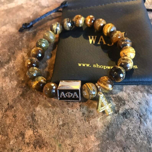 "Alpha Phi Alpha ""Ford"" Tiger Eye Bracelet with Line Number"