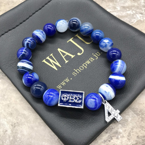 Phi Beta Sigma Striped Agate Bracelet with line number