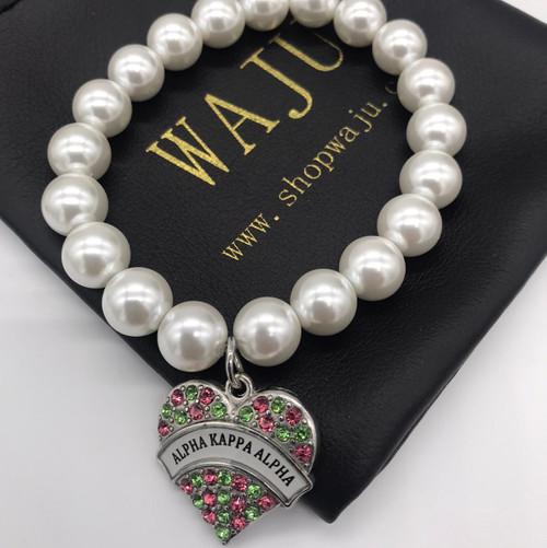 Pearl Bracelet with Rhinestone AKA  heart Charm