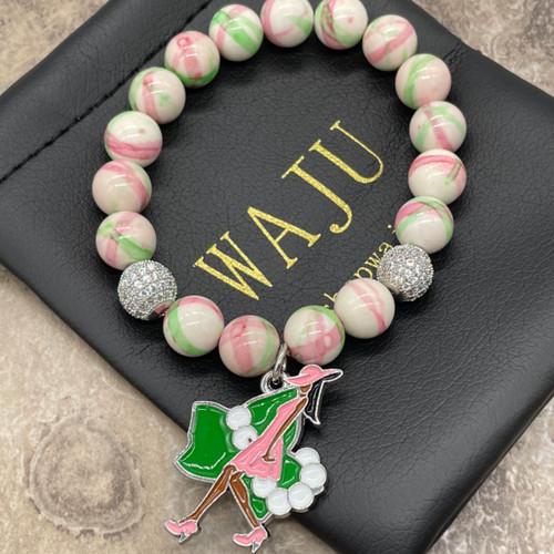 "Alpha Kappa Alpha ""Maci"" Bracelet with Ivy lady charm"