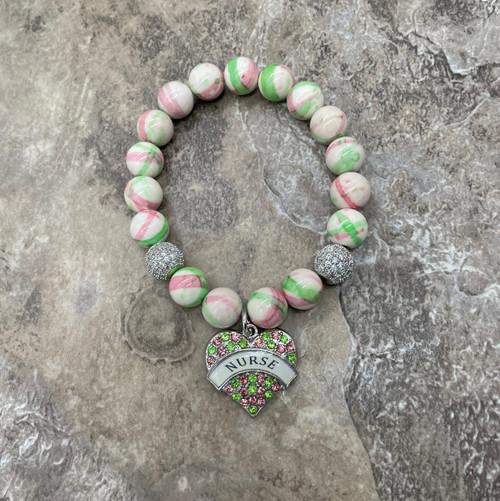 """Alpha Kappa Alpha """"Maci"""" bracelet with nurse charm"""