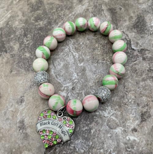 "Alpha Kappa Alpha ""Maci"" bracelet with BGM charm"