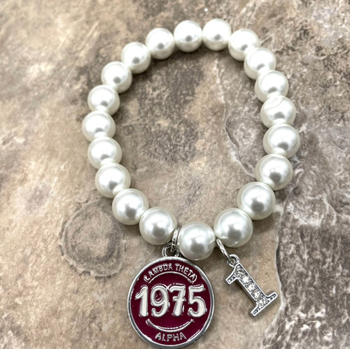 LTA Pearl Bracelet with NUMBER Charm
