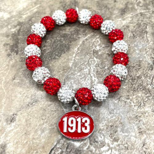 Delta Sigma Theta bling Bracelet with 1913 charm