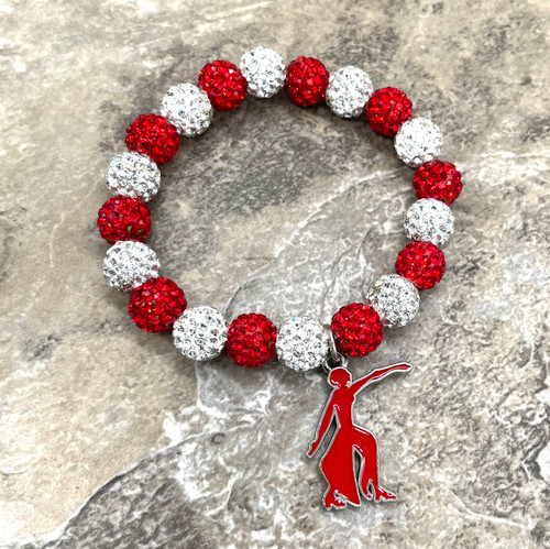 Delta Sigma Theta bling Bracelet with fortitude  charm