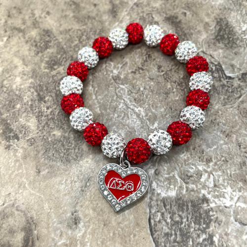 Delta Sigma Theta bling Bracelet with enamel heart