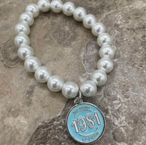 Mu Sigma Upsilon Pearl Bracelet