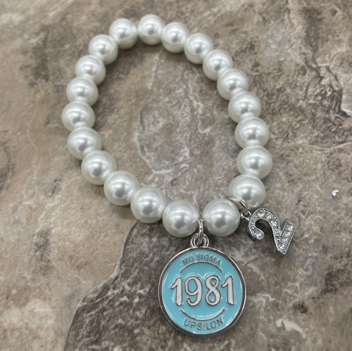 Mu Sigma Upsilon Pearl Bracelet with line number