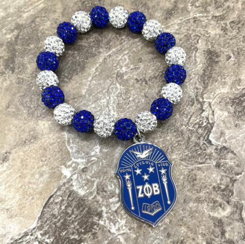 Zeta Phi Beta bling Bracelet with shield charm