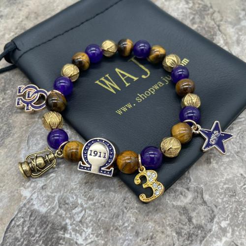 "Omega Psi Phi ""Matthews""  Bracelet with 4 charms"